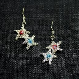 Patriotic Silver Stars with Crystals