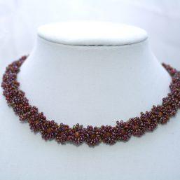 Burgundy Goldstone Flower Necklace