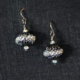Beaded Bead Earrings – Black & Silver