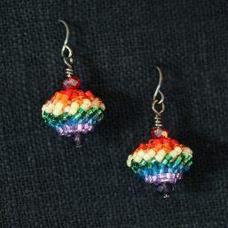 Beaded Bead Earrings – Rainbow