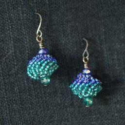 Beaded Bead Earrings – Teal & Blue
