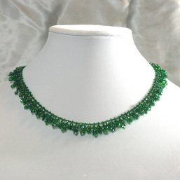Green Crystal Woven Necklace