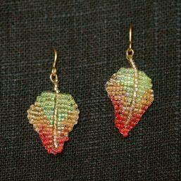 Red-Green Leaf Earrings