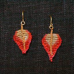 Red-Gold Leaf Earrings