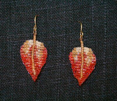 Orange-Yellow Leaf Earrings