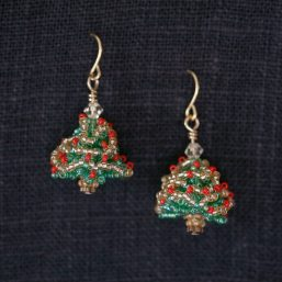 Seed Bead Christmas Tree Earrings (Red and Gold)