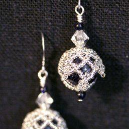 Blue Goldstone Silver Netted Earrings