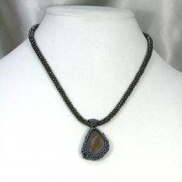 Wrapped Iron/Agate Stone Necklace