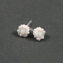 White Metal-less Stud Earring