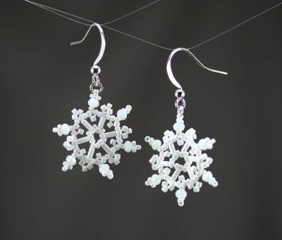 White Crystal Snowflake Earrings