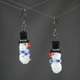 Snowmen Earrings (Blue/Silver)