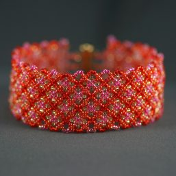 Red Netted Cuff Bracelet