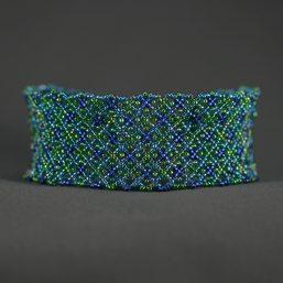 Blue-Green Netted Cuff Bracelet