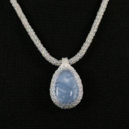 Blue Opal Cab Necklace