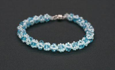 """""""Jenny"""" AB Light Blue Crystal and Bead Bracelet"""