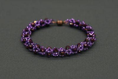 """Jenny"" AB Purple Crystal and Bead Bracelet"