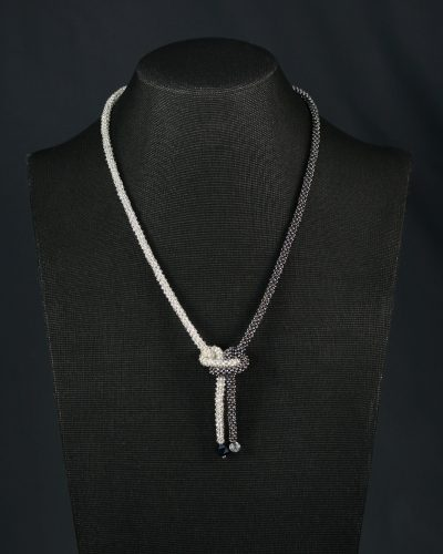Graphite & Silver Butterfly Knot Necklace