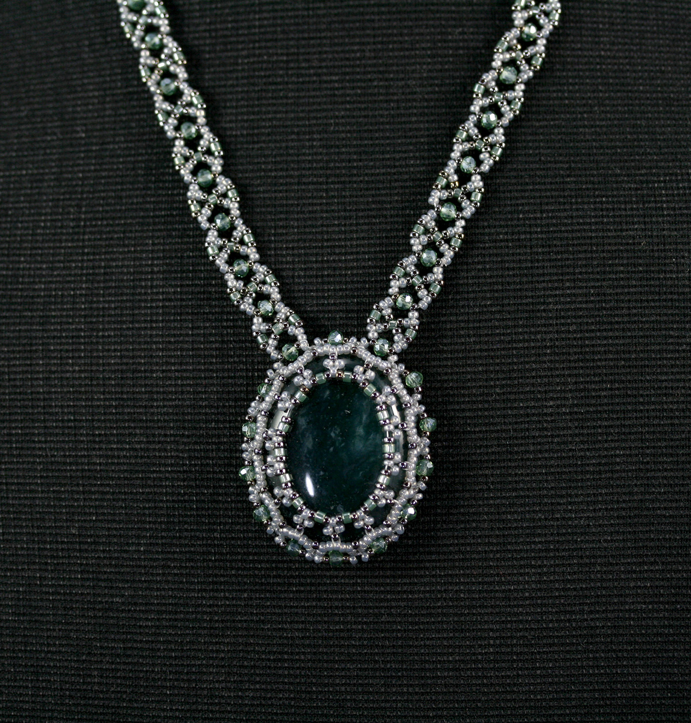 Caged crystal necklace and earring set
